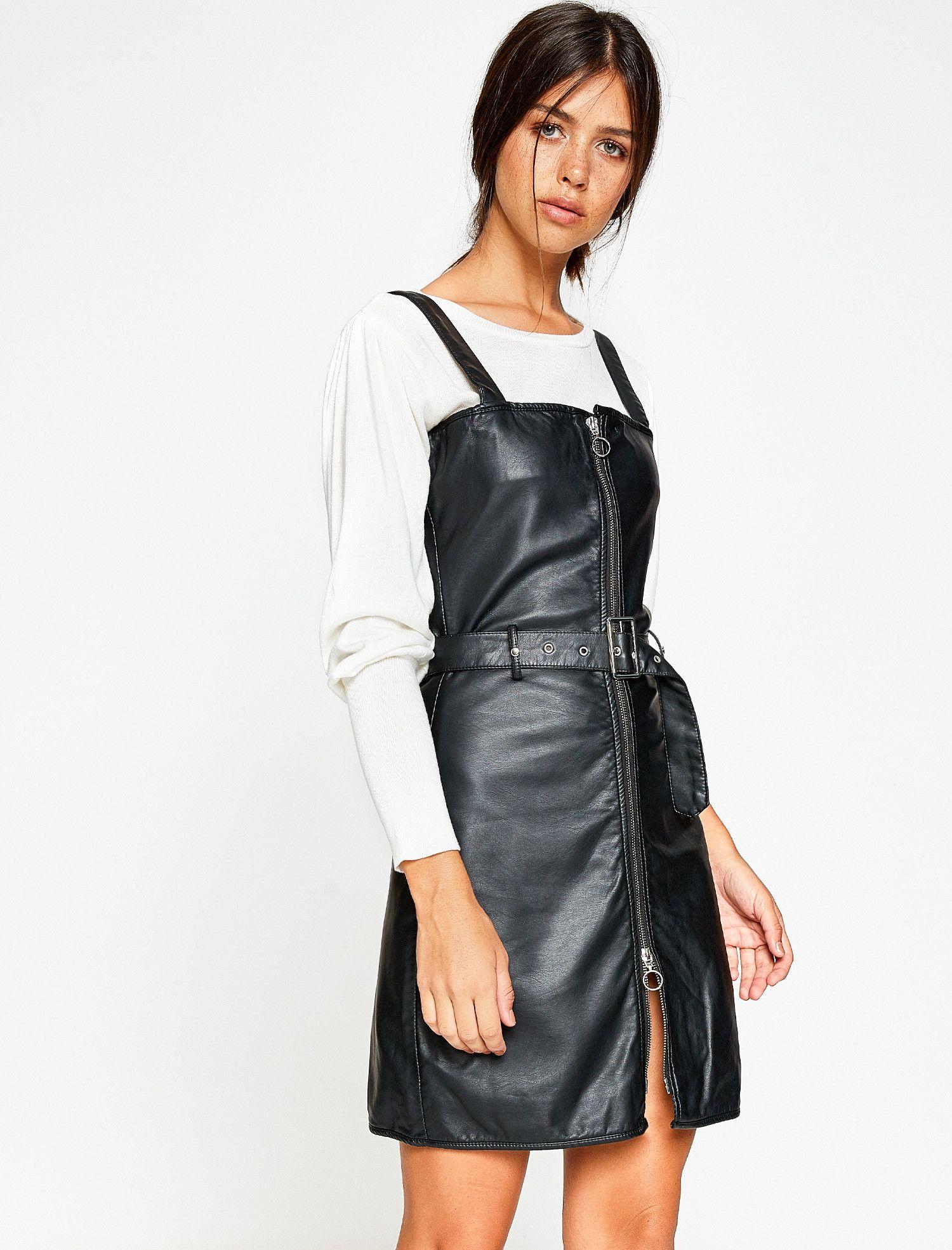 Deri Gorunumlu Elbise Moda Stilleri Elbise Moda Kadin