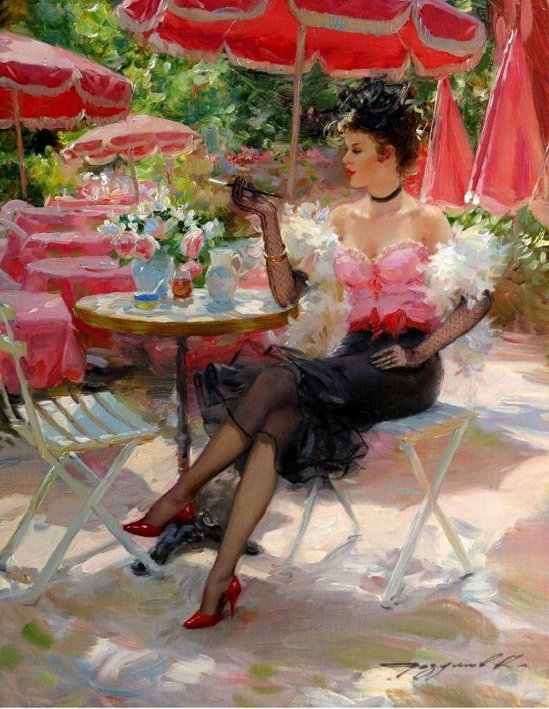 Ненавижу, картинки красивых дам в шляпах в кафе парижа