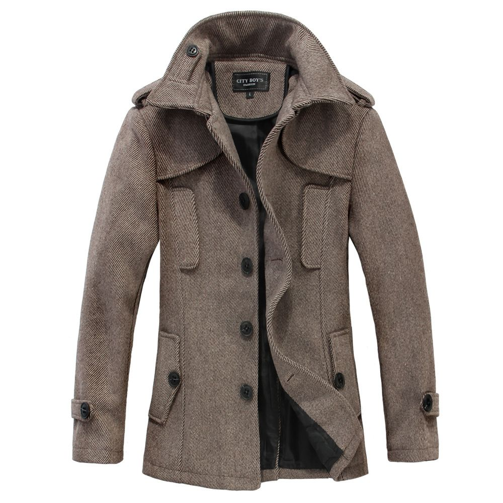 British fashion woolen trench coat men medium long design coat