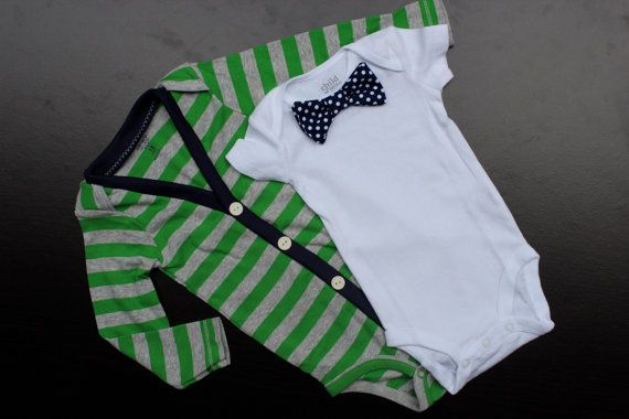 Cardigan and Bow Tie Onesie Set - Green with Navy Polka Dots