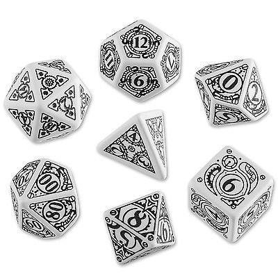 Blanco & negro STEAMPUNK Set de Dados (7) por Q-workshop