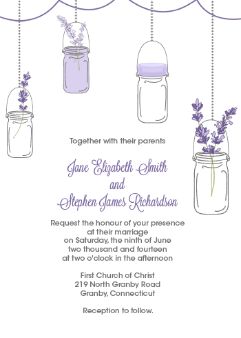 FREE PDF Download Mason Jar and Lavender Invitation with matching