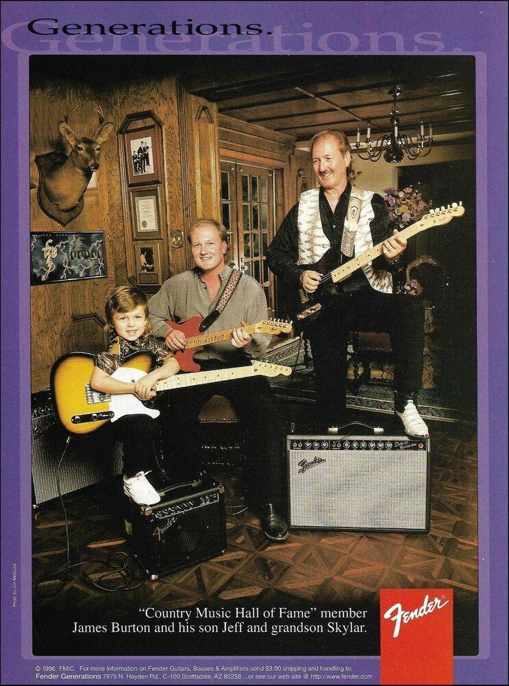 James Burton with son Jeff & grandson Skylar for Fender Guitars & Amps 1996 ad #Fender #fenderguitars