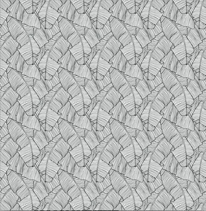 Photo of Palm Leaf Black & White – Window Vinyl / Sample / Sample