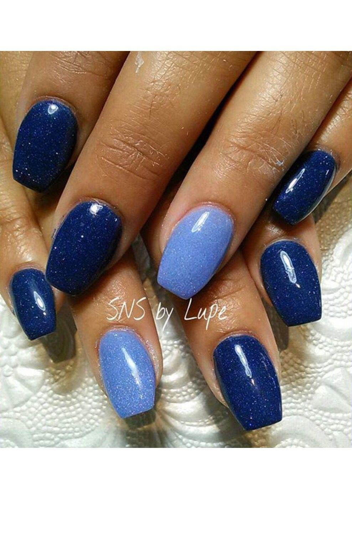 Blue color SNS nails !   treat yourself   Pinterest