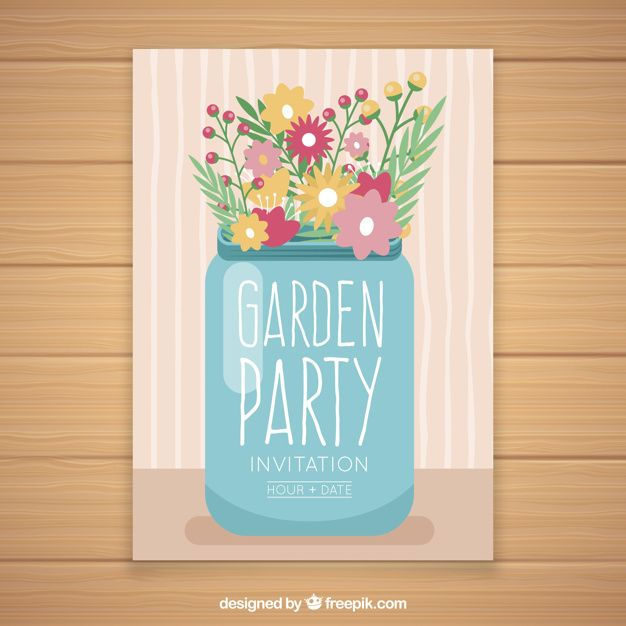 Garden party invitation design with flowers in glass Free Vector