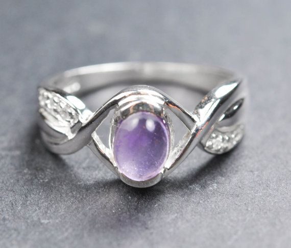 Amethyst sterling silver ring gemstone by JubileJewel, $63.00