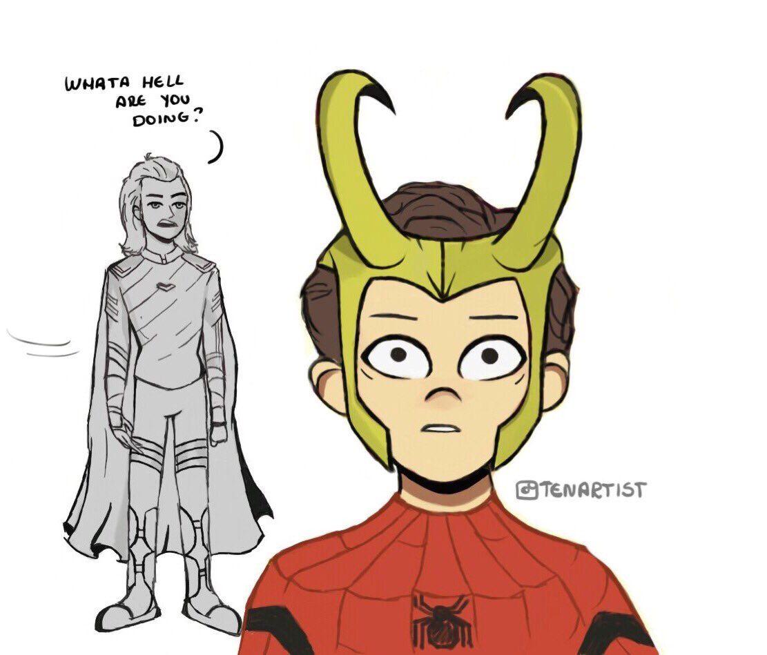 Peter wears Loki\'s helmet   Tumblr   Pinterest   Helmets, Marvel and ...