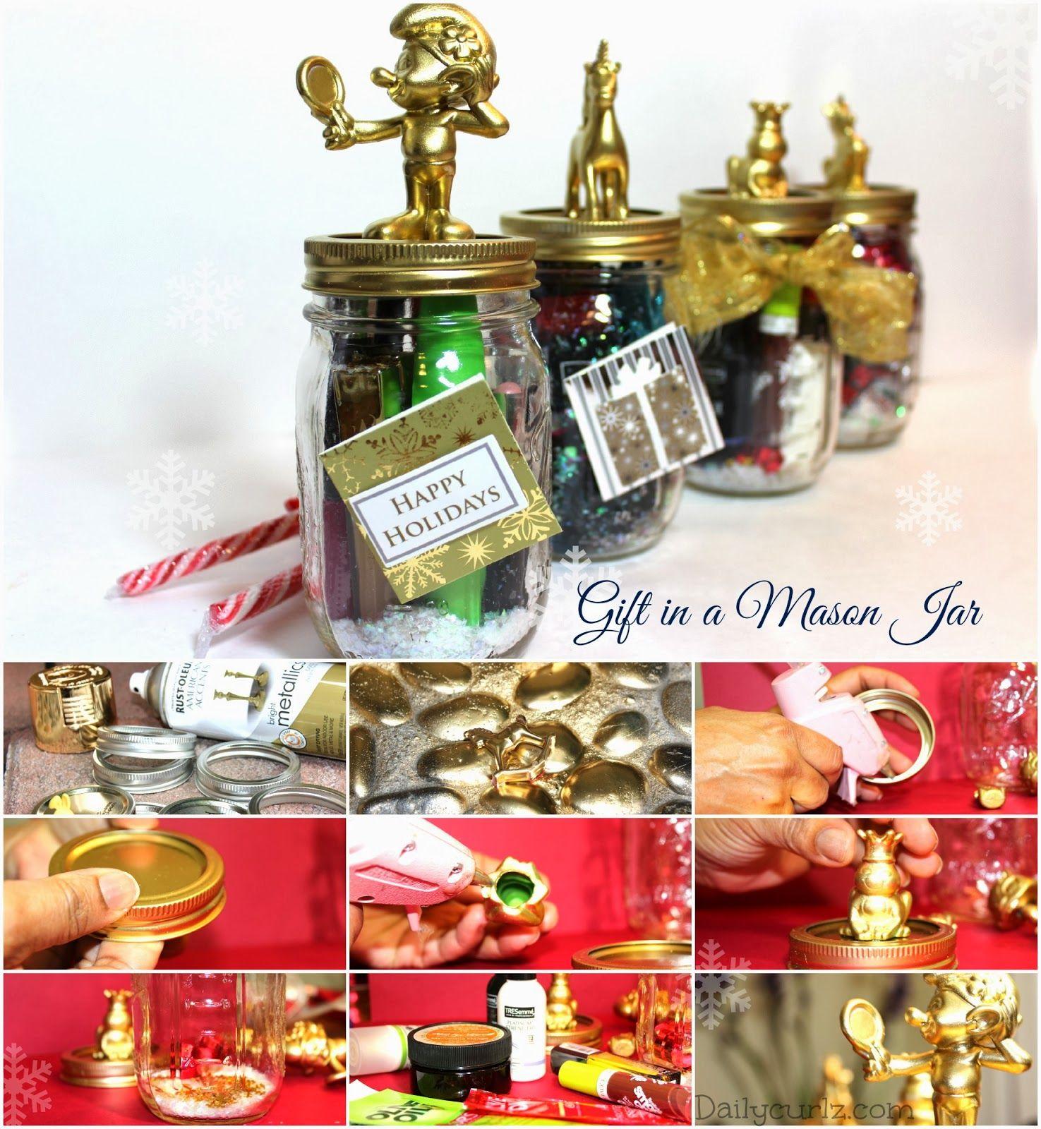 Diy Christmas Gift In A Mason Jar Manualidades Navide As  ~ Regalos Originales Para Navidad Manualidades