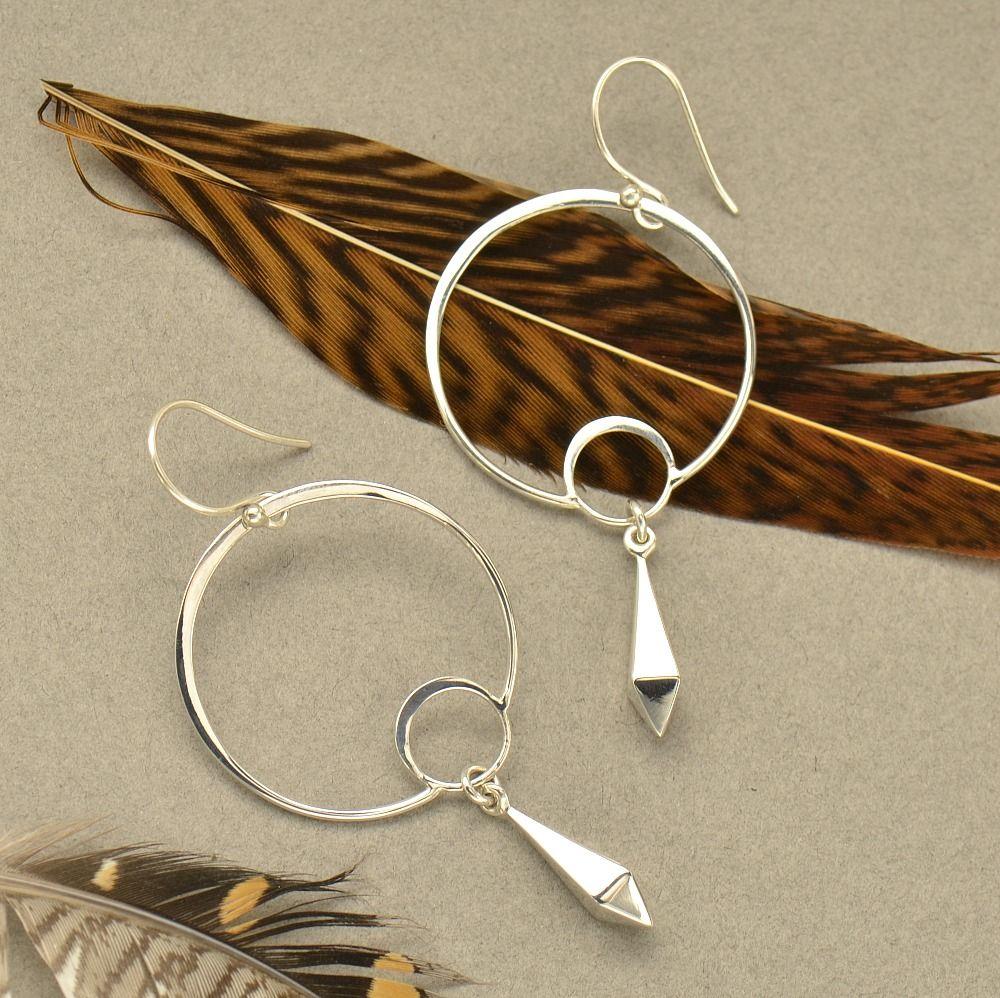silver links silver dangles geometric jewelry earring design