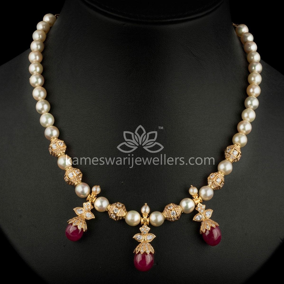 67d812a47 Buy Chain Online | Elegant Pearl String With Ruby Pota Drops from Kameswari  Jewellers