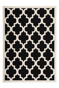 Designer Teppich Schwarz Weiss Geometrisch Kurzflor Teppich Retro