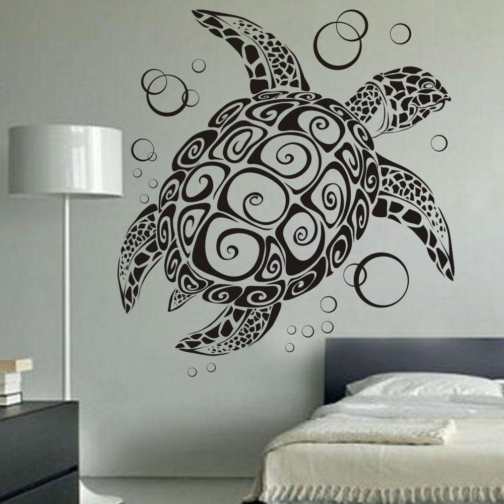 sea turtle ocean wall decal turtle wall sticker under the sea animals wall decor. Black Bedroom Furniture Sets. Home Design Ideas