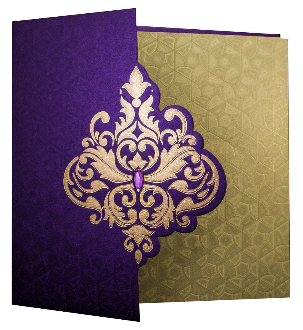 Elegant Wedding Invite In Rich Purple With Golden Patterns