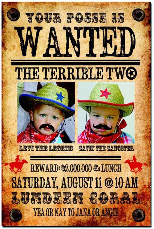 Wanted Poster Invitation | ... western second birthday party for two ...