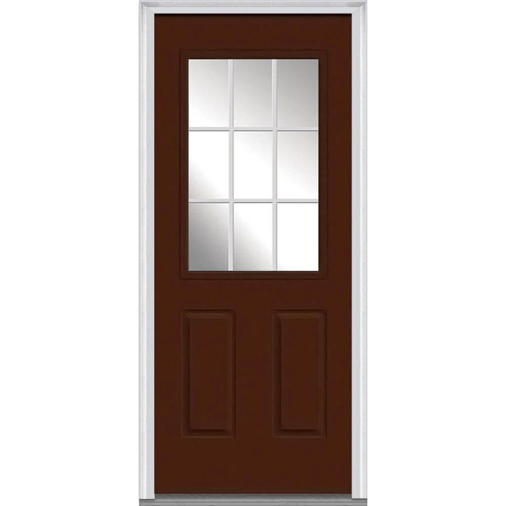 Milliken Millwork 37 5 In X 81 75 In Classic Clear Glass Gbg 1 2 Lite 2 Pane Painted Fiberglass Smooth Exterior Door Mmi Door Steel Doors Exterior Front Door
