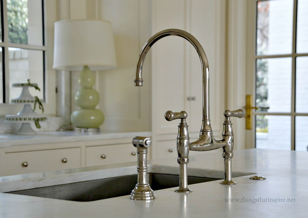 My kitchen sink and faucet- Perrin & Rowe deck mount bridge faucet ...
