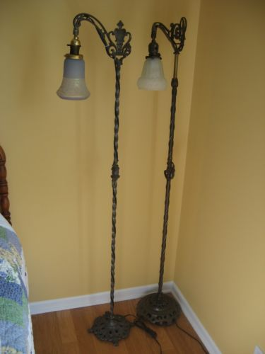 Early 1900s Antique Cast Iron Brass Floor Lamp 60 High Older Restoration Antique Floor Lamps Victorian Floor Lamps Floor Lamp