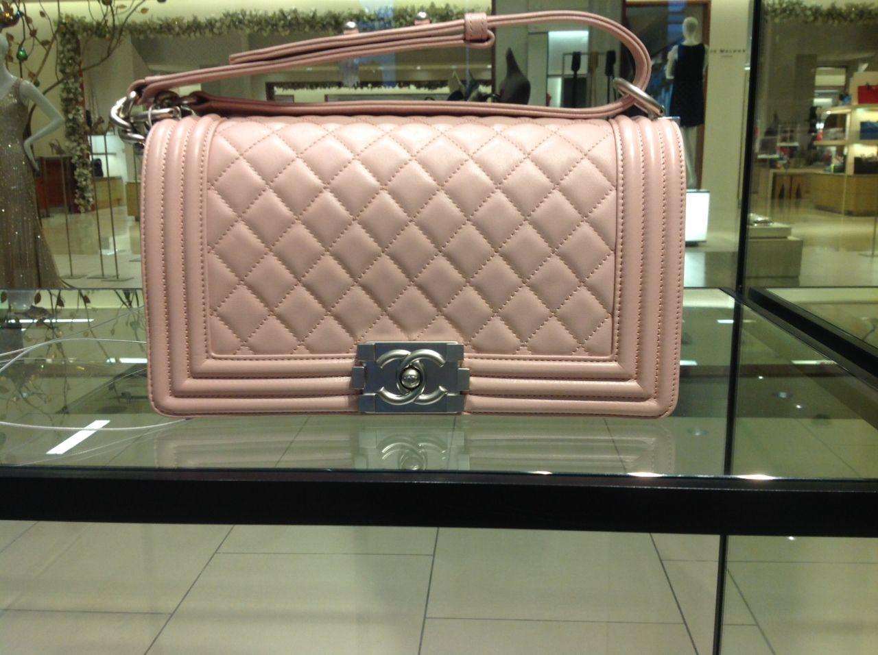 My Second Chanel Handbag This Is From The Dubai Cruise Collection Pale Pink Medium Boy Handbag With Ruthenium Hardware Chanel Handbags Chanel Chanel Boy Bag