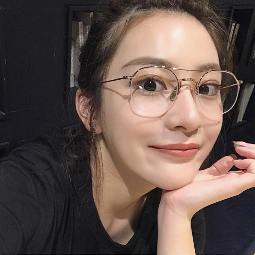 7203ad944af Unisex Retro Round Eye Glasses Frame Men Women Semi Rim Gold Prescription  Eyewear Spectacles Myopia Slim Clear Lenses Eyeglasses