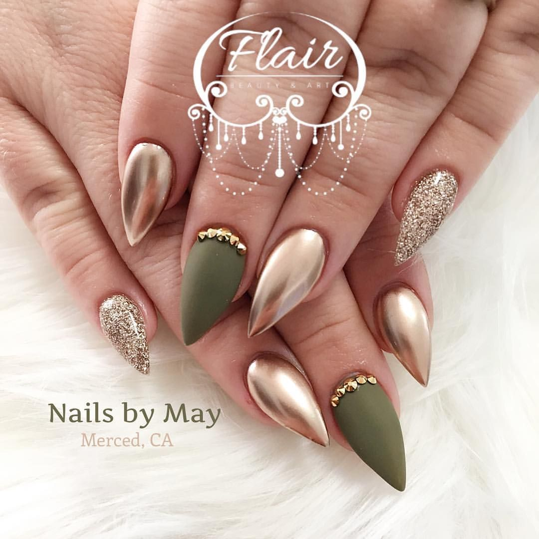 683 Likes 10 Comments Nails By May Nailsby May On Instagram Stiletto Nails Short Green Nail Designs Stiletto Nails Designs