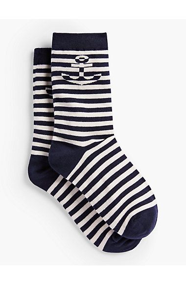 Stripe & Anchor Trouser Socks - Talbots