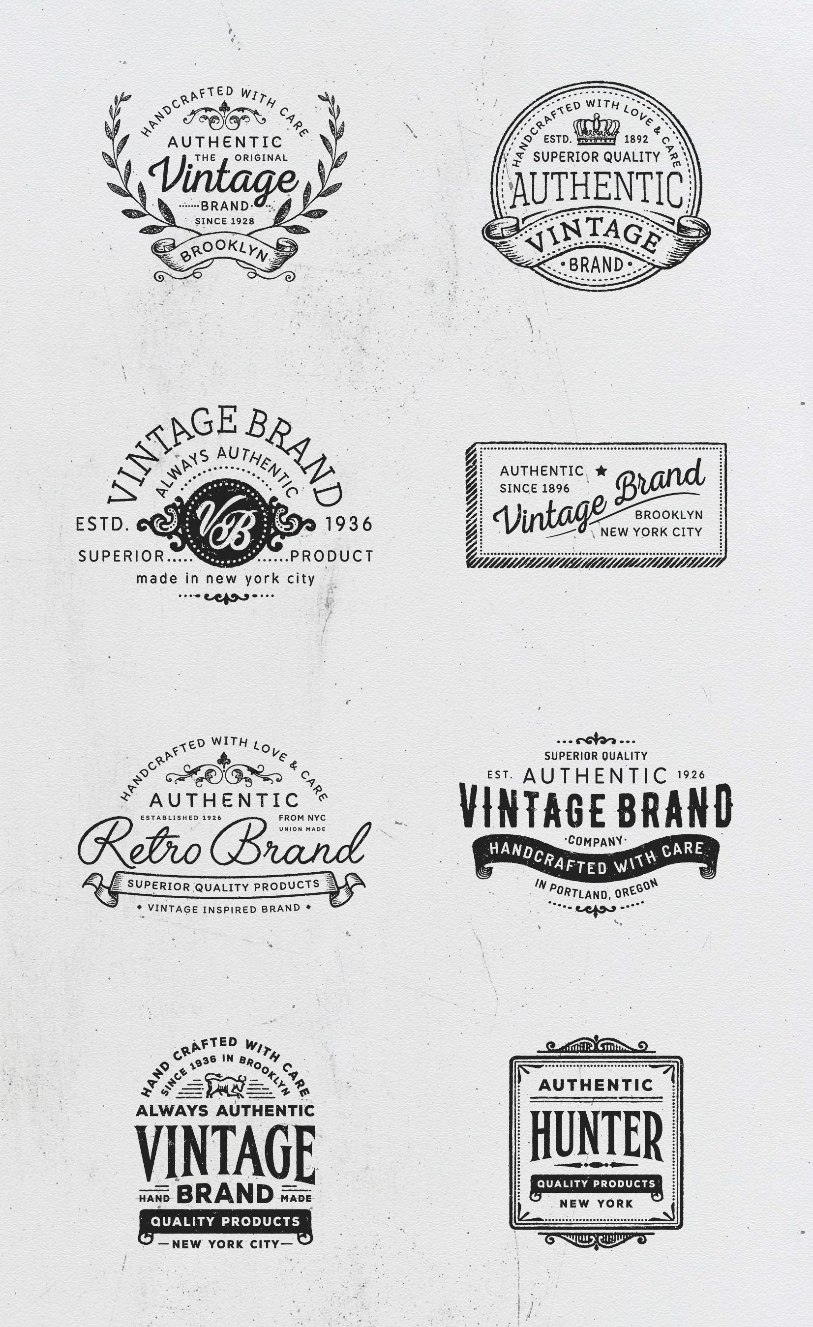 Vintage Logo Templates Vol 2 Vintage Logo Logo Templates Retro Logo Design