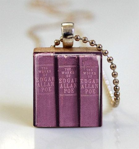 Edgar allan poe book necklace the raven nevermore edgar allen poe edgar allan poe book necklace the raven nevermore edgar allen poe scrabble tile pendant with ball mozeypictures Images