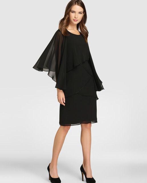 6f023cdf4 Vestido negro de mujer Fiesta El Corte Inglés con capelina | ROPA ...