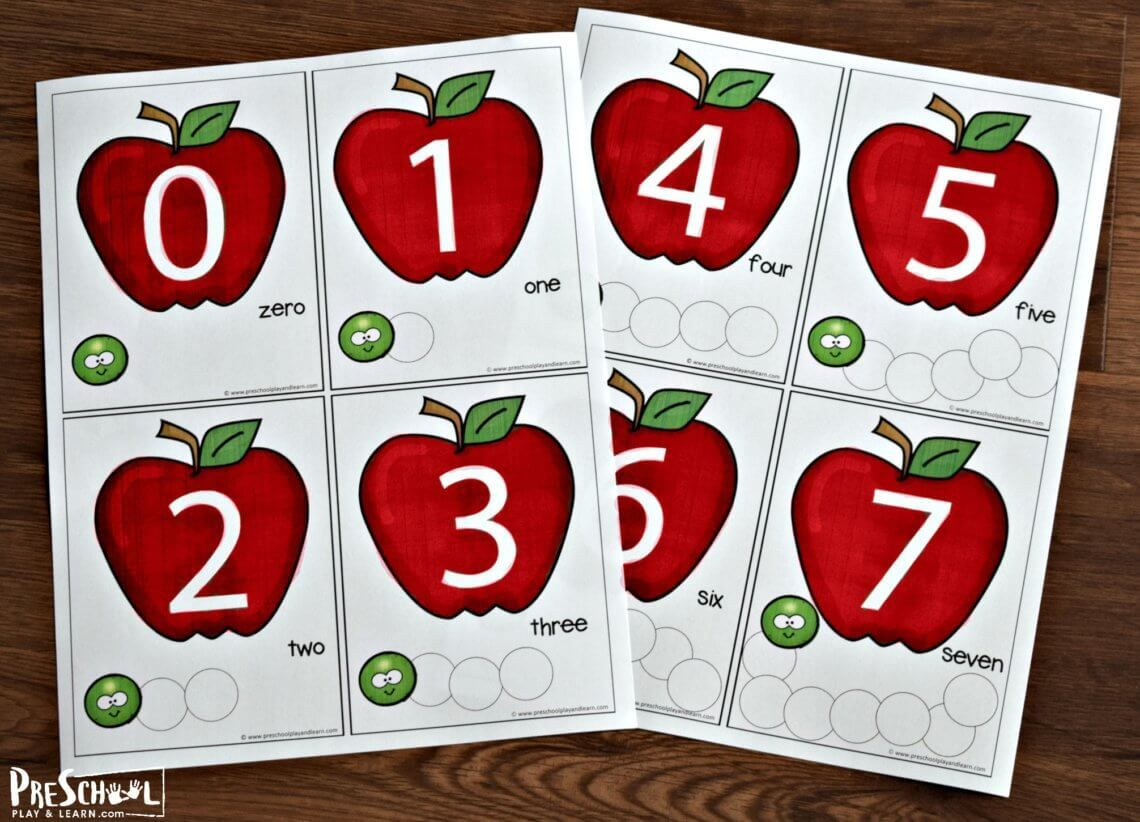 Super Cute Free Printable Apple Coutning Cards For