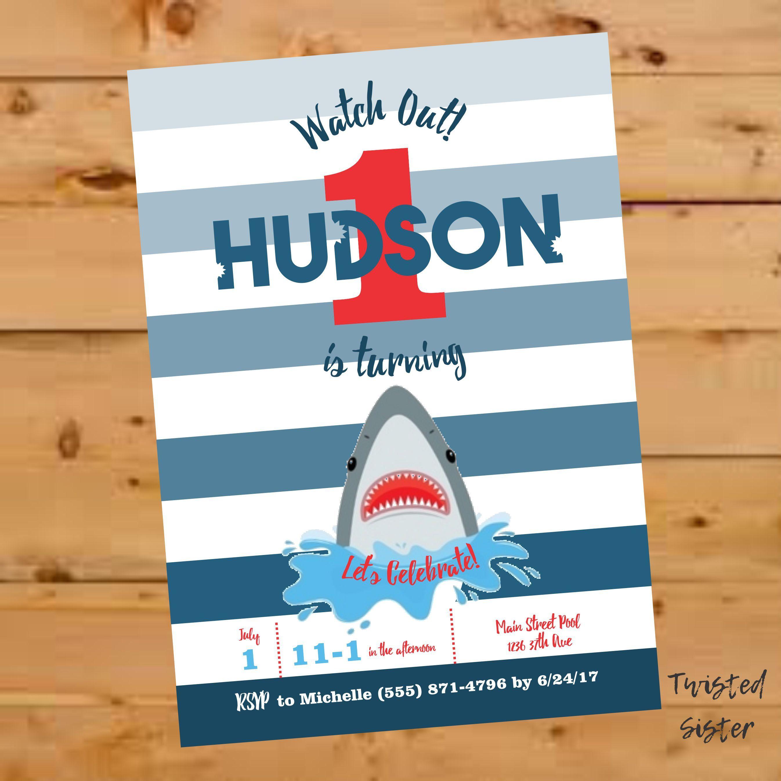 Shark birthday invitation shark party invitations Shark Invite