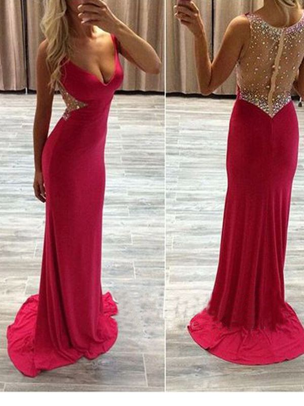 Long Custom Prom Dress,Red See Through prom dress, Beaded prom dress ...