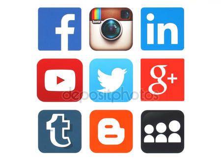 93778cb92d162 Descargar - Colección de logos de redes sociales populares impresas en  papel — Imagen de stock