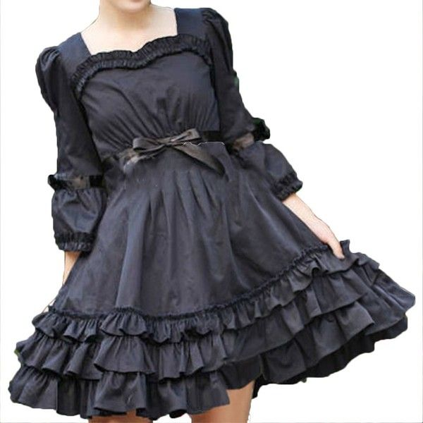 Partiss Women's Ruffles Cotton Gothic Lolita Dress at Amazon Women's... ($86) ❤ liked on Polyvore featuring dresses, ruffle dress, flouncy dress, frilly dresses, gothic dress and cotton ruffle dress