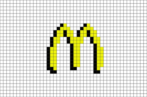 Mcdonalds Logo Pixel Art Pixel Art Minecraft Pixel Art
