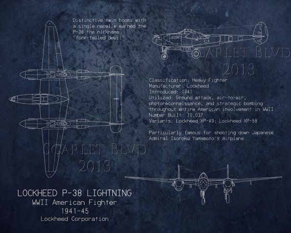 P 38 lightning wwii airplane blueprint art aircraft decor military lockheed p38 lightning wwii airplane blueprint art by scarletblvd malvernweather Gallery