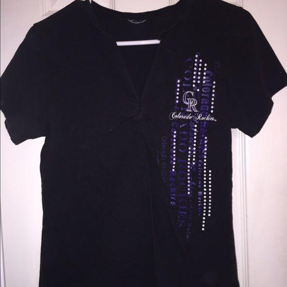 V cut Colorado Rockies t shirt Black v cut Colorado Rockies t shirt. Size small no tags Tops