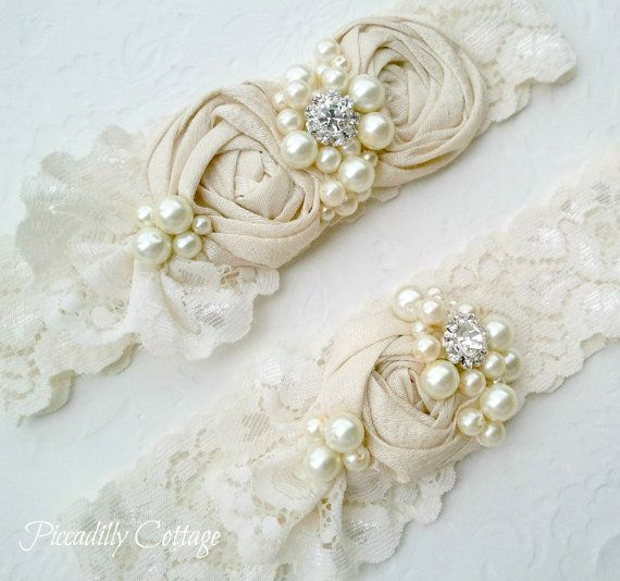 Ivory Wedding Garter Set Dupioni Silk Rosettes accented with Pearls and a Brilliant Rhinestone Toss Garter Included