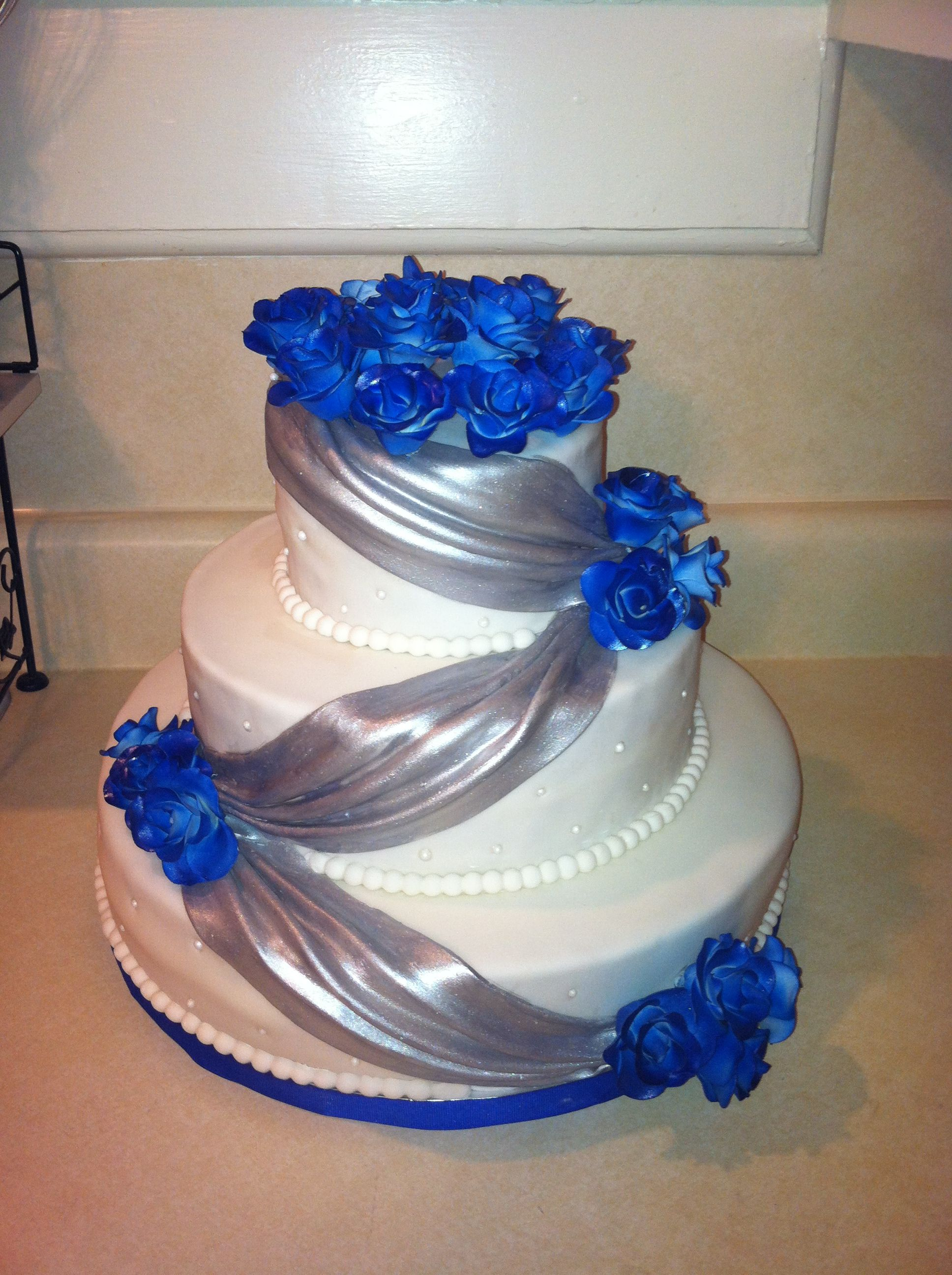 Blue and Silver Wedding Cake My Cakes
