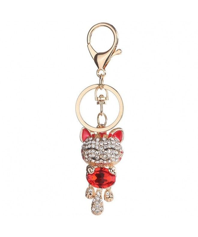 Women Lucky Cat Rhinestones Bag Hanging Keychain Key Ring Clasp Car  Accessories - Red - CX1873M0KD4 9492cd1668