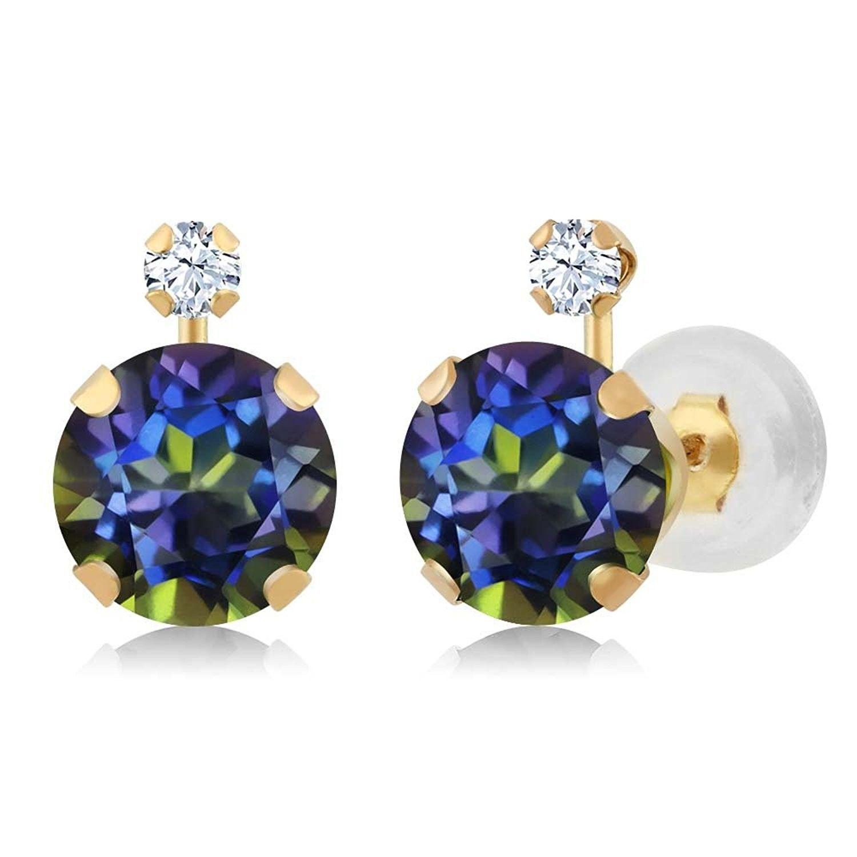 2.04 Ct Round Green Peridot 14K Yellow Gold Women/'s Earrings
