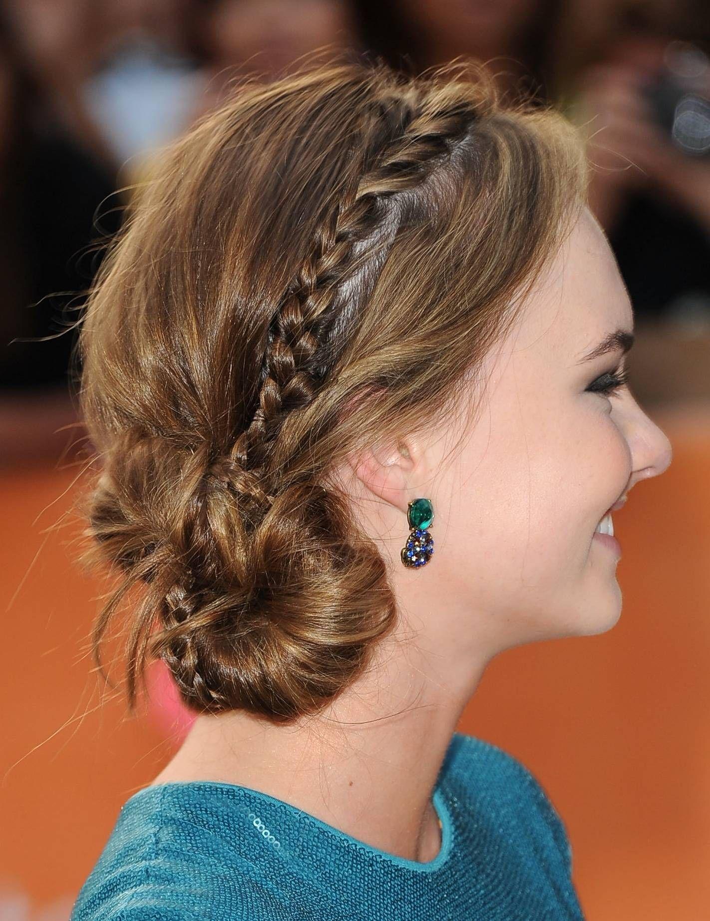 Side braided bun cute braided updos for medium length hair