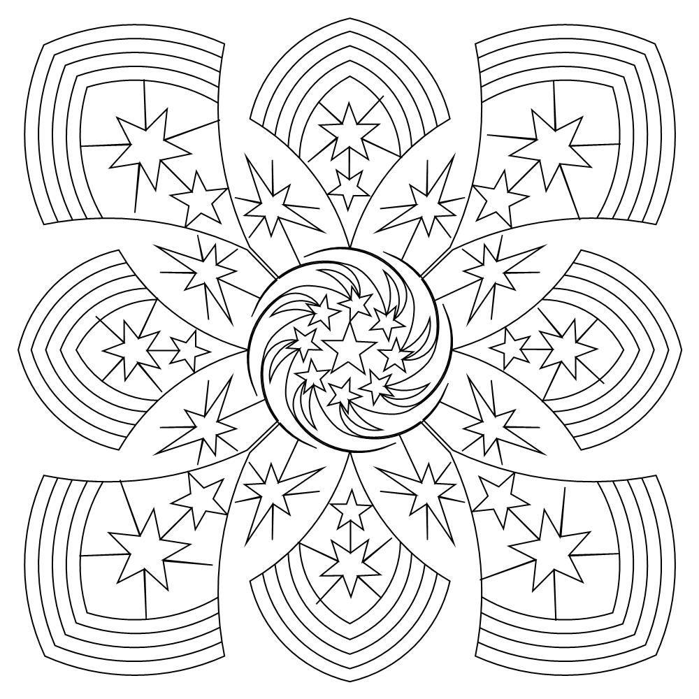 lucky star 30  Cross coloring page, Needlework patterns, Mandala