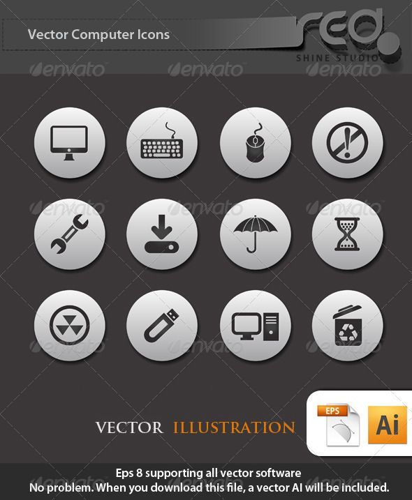 Computer Icon Vector Pack | Fonts-logos-icons | Pinterest | Symbole ...