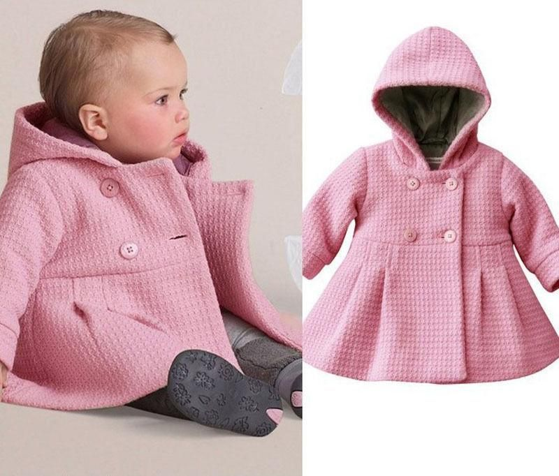 e9ec287a2964 Baby Girl Toddler Warm Fleece Winter Pea Coat Snow Jacket Suit Clothes Red  Pink