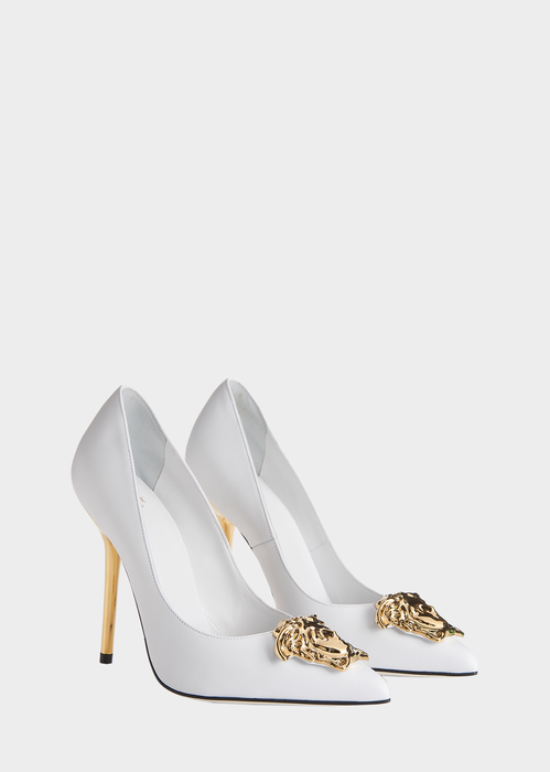 3508159e611b Palazzo Pumps from Versace Women s Collection. A stiletto pump with an  iconic status. Highlighted by the Medusa plaque and matching tone 11cm heel.