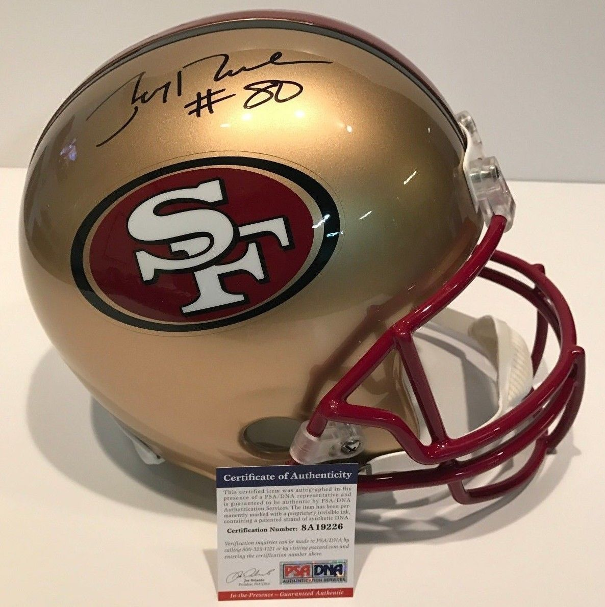 e19f55596 JERRY RICE AUTOGRAPHED SIGNED SAN FRANCISCO 49ERS FULL SIZE HELMET PSA COA