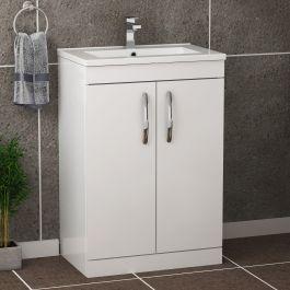 Turin 800mm Floor Standing Vanity Sink Unit Gloss White 2 Door Minimalist In 2020 Sink Vanity Unit Vanity Units Vanity Basin