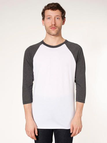 American Apparel BB453 Adult Unisex 3 4 slv Raglan in White Heather Black!  One of our best selling styles and available in sooo many colors! 2a11ec4ba