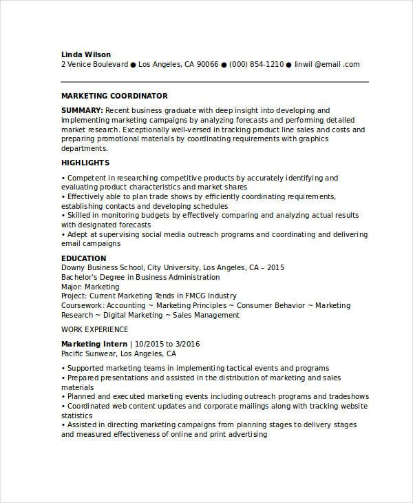 Entry Level Marketing Coordinator Resume , Marketing Resume Samples